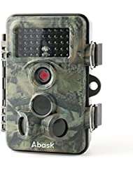 Wildlife Kamera, abask Trail Überwachung Wasserdicht Pfadfinder Digital Kamera 3Zone Infrarot-Sensor 12MP 1080P HD mit Zeitraffer 65ft 120° Weitwinkel Nachtsicht für Spiel & Jagd