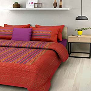 Bedding Bazar Cotton Jaipuri Printed 1 King Size Bedsheet With 2 Pillow Covers(Multi Color )