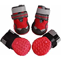 JoyDaog Breathable Mesh Dog Shoes for Medium Dogs,Summer Hot Pavement Protect Paws Dog Boots,Waterproof Non-slip by (Red,Size 5)