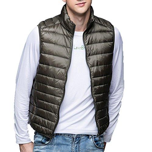 Linyuan Mode Men's Ultra Leightweigth Zipper Outerwear Vest Sleeveless Down Jackets Black