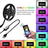 Mainstayae 2m LED Color Changing Strip Lights LED TV Backlight USB RGB Strip Light with BT Smartphone APP Controller LED Tape Strip for Home Lighting Kitchen Bed