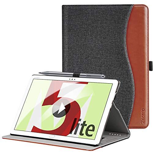ZtotopCase Hülle für Huawei MediaPad M5 Lite 10, Premium Kunstleder Leichte Case mit Auto Schlaf/Wach Funktion & Pen Halter, für Huawei MediaPad M5 Lite 10.1 Zoll 2018 Modell, Denim Schwarz