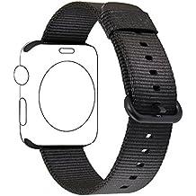 Apple Watch cinturino ,PUGO TOP Woven Nylon Replacement Wrist cinturino Bracelet Strap for Apple Watch Serise 1/Apple Watch Serise 2 (42mm , Nero)