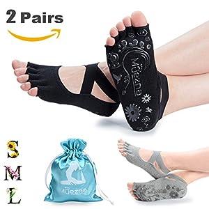 Muezna Yoga Socken Rutschfeste Damen Fitness Pilates Socken Breathable Open Toed mit Baumwolle Anklet Stil