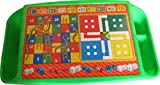 #4: Pihu Enterprises Ludo ,Snakes & Ladders Printed Plastic kids table with side storage for eating, study, art & craft, games, drawing/bed table (Green)