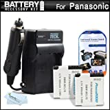 2 Pack Battery And Charger Kit For Panasonic Lumix DMC-XS1 DMC-SZ3 DMC-FH10 DMC-F5 Compact Digital Camera Includes 2 Extended Replacement (1000Mah) DMW-BCL7 Batteries + Ac/Dc Rapid Travel Charger + LCD Screen Protectors + MicroFiber Cleaning Cloth