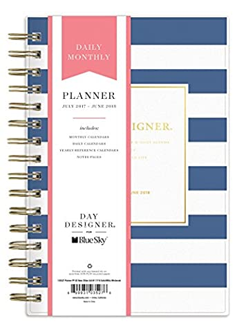 Day Designer for Blue Sky 2017-2018 Academic Year Daily & Monthly Planner, Twin-Wire Bound, 5