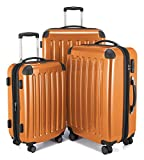 HAUPTSTADTKOFFER - Alex- Set of 3 Hard-side Luggages Trolley Suitces Expandable, TSA, (S, M & L), orange