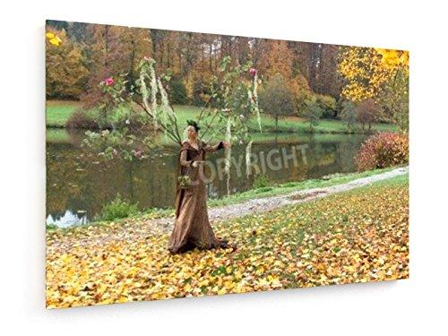 Achim Prill - Herbstlandschaft - 90x60 cm - Textil-Leinwandbild auf Keilrahmen - Wand-Bild - Kunst, Gemälde, Foto, Bild auf Leinwand - (Grüne Wald Märchen Kostüme)
