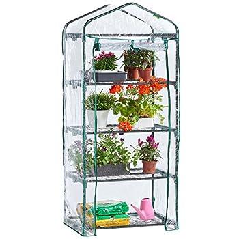 0dea3de654f VonHaus 4 Tier Mini Plastic PVC Greenhouse ┃ Cheapest GardenFurniture 》  123PriceCheck.com