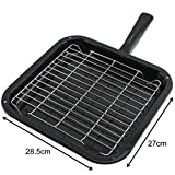 SPARES2GO Universal Small Square Oven Grill Pan, Rack & Detachable Handle