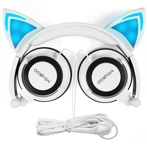Mindkoo Casque Audio enfant Cat Ears Headphone Ecouteur oreille de chat avec Microphone intégré Casque filaire pour les smartphones, iPhone, Samsung, les Tablettes,MP3/MP4 et d'autres appareils avec prise jack 3.5mm Blanc