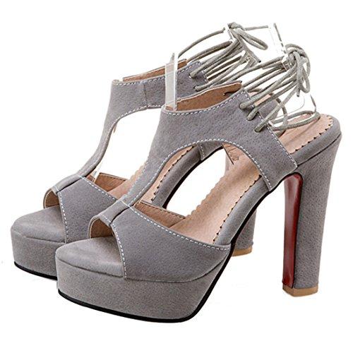 ... YE Damen Peep Toe T-spangen plateau sandalen mit Schnürung Wildleder  Blockabsatz Schuhe Grau ...