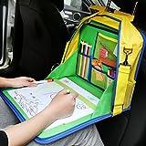 Asiento de coche de niño bandeja,KIPTOP Bandeja de Viaje Impermeable Plegable, Multifuncional Pintura de los Niños de la escuela bolsa Verde (Edad mínima recomendada 3 Años)