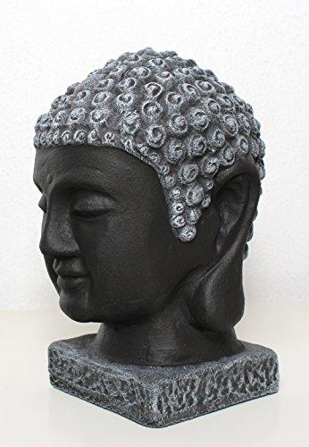 Buddha Kopf Statue Stein – Schwarz/Schiefergrau, Gartendeko, Figur Frostsicher