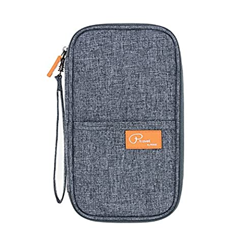 Tuscall Travel Wallet Passport Holder Document Card Organiser Case with Hand Strap Zip Closure Passport Money Boarding Passes Credit ID Cards well Organised
