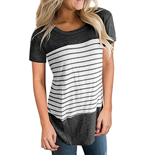 MRULIC Frauen Kurzarm Oberteile Damen Dreifach Farbe Block Streifen T-Shirt Casual Bluse (EU-36/CN-S, Z-Dunkelgrau) (Farbe Chiffon Bluse Block)