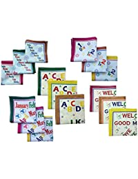 Fancyadda Kid's Cotton Educational Handkerchiefs (Set of 15, Multi-Coloured, Alphabets, Weekdays, Months, Numbers & Messages)