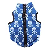 flowerkui Totenkopf Muster Puppy Dog Zip Up Weste Hundegeschirr mit D-Ring (M, blau)