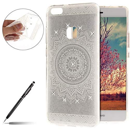Kompatibel mit Handyhülle Huawei P10 Lite Handytasche Diamant Strass Bling Glitzer Blumen Schutzhülle Transparent Silikon Schutzhülle Crystal Klar Durchsichtige Hülle TPU Bumper,Weiß Mandala