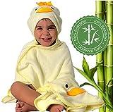 HECKBO® Asciugamano per Bambini con Cappuccio a forma di Topino + Guanto da Bagno Gratis | 0-6 Anni |Novità: Due Bottoni per la Massima Vestibilità | Morbida Fibra di Bambù | 90x100cm