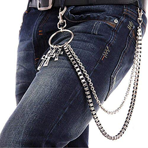 Ogquaton 1 UNIDS Metal Punk Cadena Doble con Cruz Colgante Rock Wallet Cadena Cadena de la cintura Hip Hop Llavero para Niños Trajes para hombre Traje
