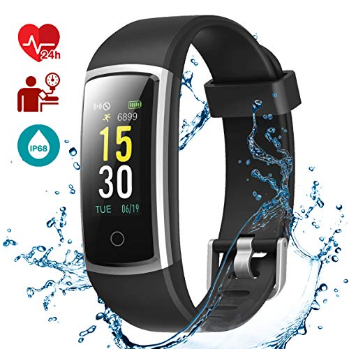 LATEC Fitness Tracker Impermeabile IP68, Smartwatch Cardiofrequenzimetro Activity Tracker Schermo a Colori Braccialetto Intelligente Pedometro con 14 Modi di Sport