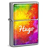 PhotoFancy® - Sturmfeuerzeug Set mit Namen Hugo - Feuerzeug mit Design Color Paint - Benzinfeuerzeug, Sturm-Feuerzeug