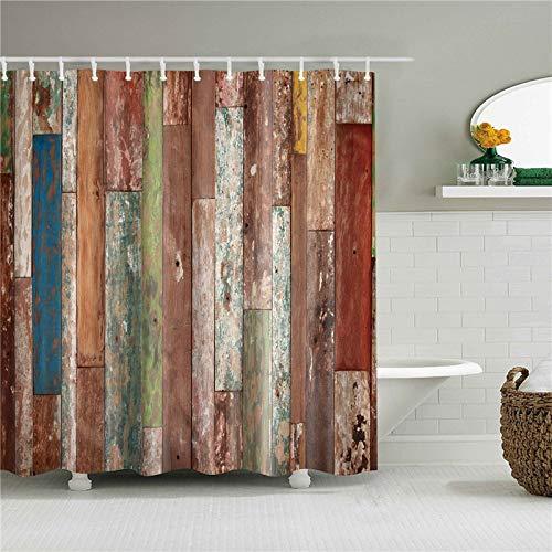 kdjshhs Duschvorhang 3D Holztür Druck Duschvorhänge Für Die Küche Dekoration Kreative Duschvorhang Bad Wasserdicht Polyestergewebe 150X180 cm T