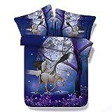 Unicorno Biancheria Da Letto Fibra Superfine Effetto Di Stampa Stile Animale Lenzuola Copripiumino Moda * 1 Federe * 2 3Pcs Blu, A, 150Cmx200Cm