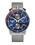 Quarzwerk-Chronograph-Herren Rally Timer I von Elysee | Gehäuse aus Edelstahl | Stilvolles Armband | Herrenuhr-Armbanduhr mit Stoppfunktion und Datumsanzeige (silber/blau)