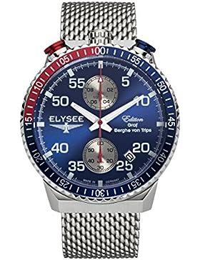 Chronograph-Herren-Armbanduhr Rally Timer I in silber / blau von Elysee | Gehäuse aus Edelstahl | Stilvolles Armband...