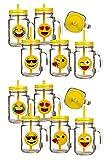 Bada Bing 12er Set Trinkglas Emoji lustige gelbe Gesichter Deckel Strohhalm witzig 44