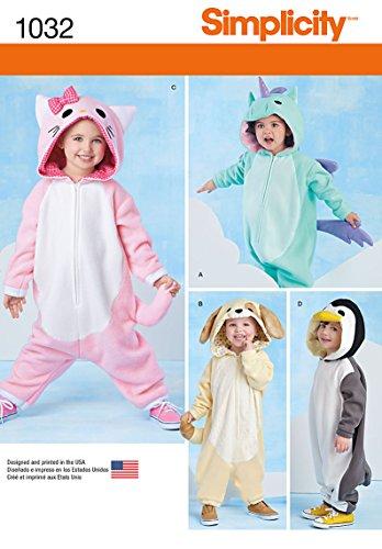 Simplicity 1032Größe EIN Kleinkind Tier Kostüme Schnittmuster, - Kleinkind Großes Kostüm