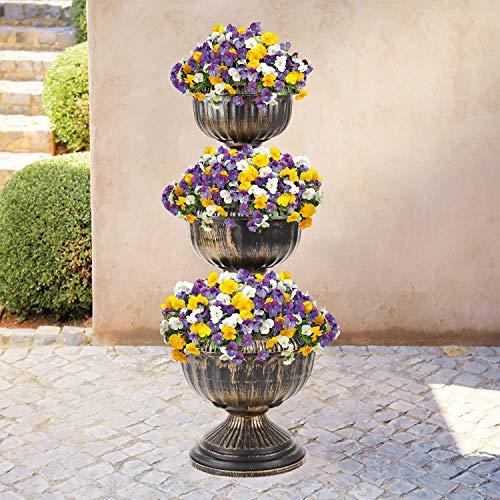 Parkland® 3 Etagen Antik-Bronze-Effekt Blumen-Übertopf Ständer für den Außenbereich Garten Terrasse - Terrasse Tv-ständer