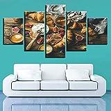 YCWYF Arte de la Pared Lienzo HD Imprime imágenes 5 Unidades Pan Granada Pinturas Modular Comida Frutas Cartel Cocina Restaurante Decoración para el hogar