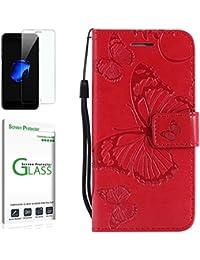 Penlicraft Coque Galaxy S5 [avec Verre Trempé],Coque Galaxy S5 Screen Protector, [Résistant aux Chocs] Coque Premium PU Housse en Cuir Couverture Papillons 3D en Relief pour Samsung S5 (Rouge)