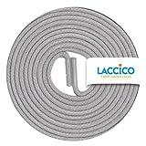 LACCICO Finest Waxed Laces® Durchmesser 2 mm Runde Dünne Elegante Gewachste Schnürsenkel Länge: 60 cm Farbe: Achatgrau