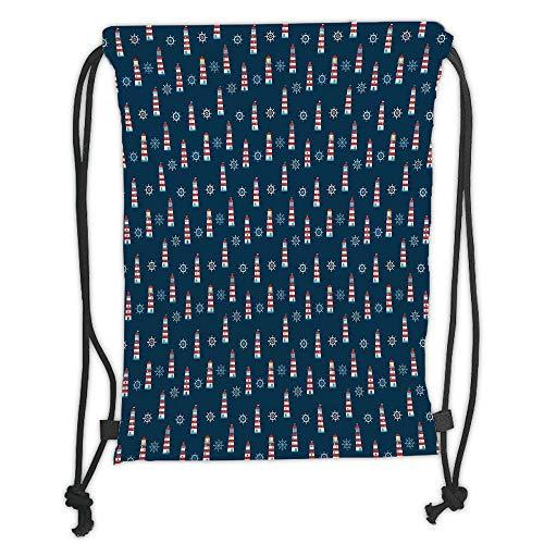 GONIESA Drawstring Sack Backpacks Bags,Lighthouse,Abstract Helms Marine Navigation Towers Children Cartoon Style Pattern Decorative,Navy Blue Red White Soft Satin,5 Liter Capacity,Adjustable St Basic-marine-navigation