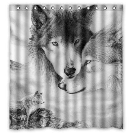 BBFhome Hem Gewichte Duschvorhang 180 x 180 cm Personalisierte Wolf Liebe Fantastische Wild Animal Sketch Stil Wolf Liebe Fantastische Wild Animal Sketch Stil Verkauft durch erstaunlich zu Bad-Dekor (Dot Living Beach)