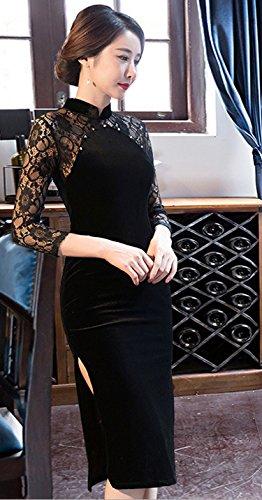 ACVIP Pizzo Cheongsam Migliorato Lungo Stile Cinese Vestito Velluto a 3/4 Maniche Nero