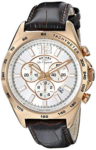 Rotary-Mens-gs9007306-Analog-Display-Swiss-Quartz-Brown-Watch