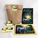 12-er St Einladungskarten, Umschläge, Tüten, Aufkleber zum Kindergeburtstag für Mädchen Einhorn / Unicorn / bunt (12 Karten + 12 Umschläge + 12 Party-Tüten (Kreuzbodenbeutel) + 12 Aufkleber)