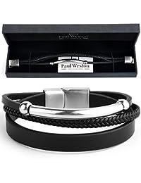 Paul Weston 886 • Triple Bracelet Homme Cuir Tressé Noir Véritable et Acier Inoxydable • 100% Matériaux Naturels • Cadeau Noir Boîte • Garantie 1 an - Conçu avec ❤ à Zurich • Suisse Qualité
