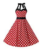 Rockabilly Kleider Damen 1950er Neckholder BH-Rock 50er Abschlussball Vintage Retro Stil Polka Dots Punkte Kleid Mit Gürtel Petticoat kleid Rot White Dot L