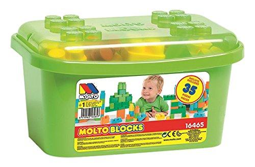 MOLTO - Contenedor bloques, 35 piezas, color verde (16465)