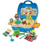 Playgo - Maletín Construcción & 3 botes plastilina (28 gramos) (ColorBaby 44576)