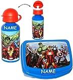 Toy - 2 tlg. Set _ Lunchbox / Brotdose & Trinkflasche -  the Avengers Assemble  - incl. Name - großes Fach - SUPERLEICHT - Brotbüchse Küche Essen - aus Kunststoff - Sportflasche / Aluflasche - Fahrradflasche - für Jungen - Kinder - Vesperdose - Brotzeitdose - Sandwichbox / Pausenbrotbox - Lunch / Initiative / Captain America SHIELD Superhelden - Iron Man - Thor / die Rächer - Action Held / Figur - Helden Ant-Man / Hulk - Vesperdose