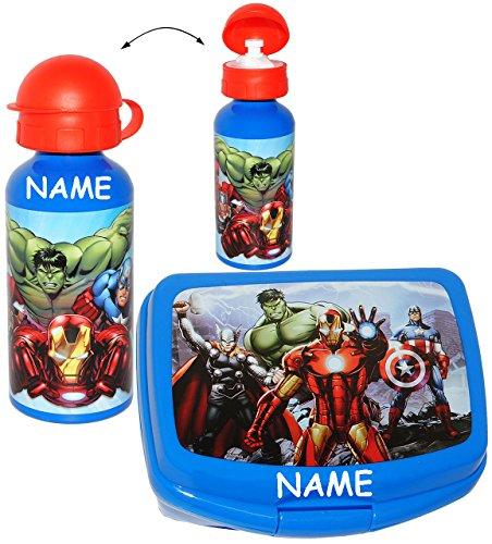 alles-meine.de GmbH 2 TLG. Set _ Lunchbox / Brotdose & Trinkflasche -  The Avengers Assemble  - incl. Name - großes Fach - SUPERLEICHT - Brotbüchse Küche Essen - aus Kunststoff.. (Fach Brot Kunststoff)
