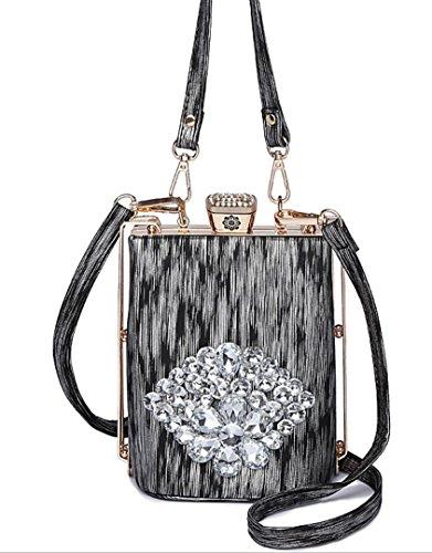 Hylm Borsa Nuova Borsa Di Modo Di Diamante Della Moda Sacchetto Cosmetico / Vino-bottle-floreale Forma-decorazione-spalla-bag-limite Metallo Nero
